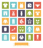 Clothing and Fashion Square Color Icon Set Stock Photography