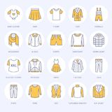 Clothing, fasion flat line icons. Mens, womens apparel - dress, down jacket, jeans, underwear, sweatshirt, fur coat. Colored thin linear signs for clothes and vector illustration