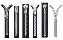 Clothing fasteners, metal zippers isolated vector set Royalty Free Stock Photos