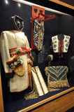 Clothing of first nation Canadians. Photo of one of the many exhibits of the permanent exhibition. This photo was taken in The Manitoba Museum. Winnipeg City Royalty Free Stock Photography