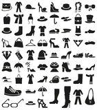 Clothing and footwear icons on white Royalty Free Stock Image