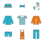 Clothing, garments and accessories icons flat Royalty Free Stock Image