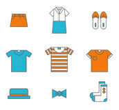 Clothing, garments and accessories icons flat Royalty Free Stock Photos