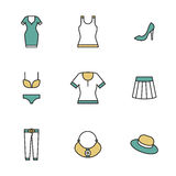 Clothing, garments and accessories icons flat Stock Photos