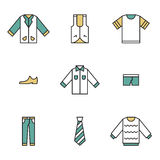 Clothing, garments and accessories icons flat Royalty Free Stock Images