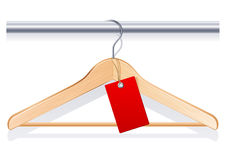 Clothing hanger. Vector illustration - clothing hanger with  red tag Stock Photography