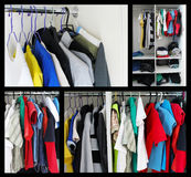 Clothing on hangers. Collage. Royalty Free Stock Photography