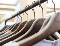 Clothing on Hangers Fashion retail Display Shop Business. Concept stock image