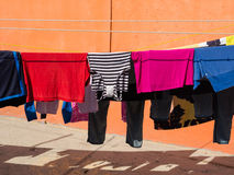 Clothing Hanging on Clothes Line Royalty Free Stock Image