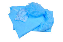 Clothing for the hospital - blue protective suit, mask and shoe Royalty Free Stock Images