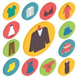 Clothing icons 3d isometric vector Stock Photo