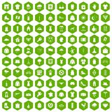 100 clothing icons hexagon green. 100 clothing icons set in green hexagon isolated vector illustration Stock Photo