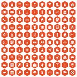 100 clothing icons hexagon orange. 100 clothing icons set in orange hexagon isolated vector illustration vector illustration