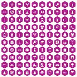 100 clothing icons hexagon violet. 100 clothing icons set in violet hexagon isolated vector illustration Royalty Free Stock Images