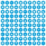 100 clothing icons set blue. 100 clothing icons set in blue hexagon isolated vector illustration Vector Illustration