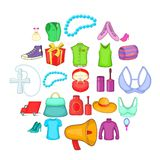 Clothing icons set, cartoon style royalty free illustration