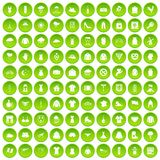 100 clothing icons set green circle. Isolated on white background vector illustration Stock Images
