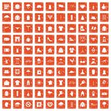 100 clothing icons set grunge orange. 100 clothing icons set in grunge style orange color isolated on white background vector illustration royalty free illustration