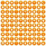 100 clothing icons set orange. 100 clothing icons set in orange circle isolated on white vector illustration stock illustration