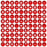 100 clothing icons set red. 100 clothing icons set in red circle isolated on white vector illustration Stock Photos