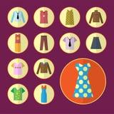 Clothing icons set, shopping elements, flat design. Clothing icons set, shopping elements flat design. illustration Royalty Free Stock Photos
