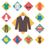 Clothing icons set, shopping elements, flat design Royalty Free Stock Image
