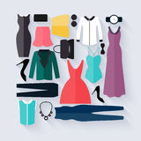 Clothing icons set, shopping elements. Royalty Free Stock Image