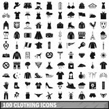 100 clothing icons set, simple style. 100 clothing icons set in simple style for any design vector illustration stock illustration