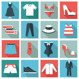 Clothing icons. Set of 16 summer clothing icons. Flat design vector illustration