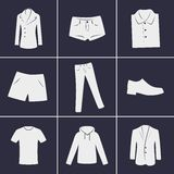 Clothing icons. Set of icons on a theme clothing Royalty Free Stock Photos