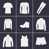 Clothing icons. Set of icons on a theme clothing Stock Photography