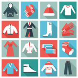 Clothing icons. Set of 16 winter clothing icons. Thin Flat design vector illustration