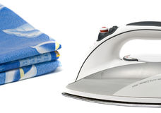 Clothing and iron. Iron and ironing clothes. Isolated on a white background Stock Image