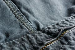 Clothing items washed cotton fabric texture with seams, clasps, buttons and rivets. Clothing items washed cotton fabric texture with seams, clasps, buttons stock photography