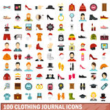 100 clothing journal icons set, flat style. 100 clothing journal icons set in flat style for any design vector illustration Royalty Free Stock Photos