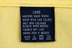 Clothing label. Close up view of the clothing label Stock Photography