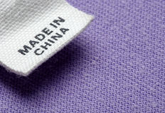 Clothing label. Close up clothing label made in china Royalty Free Stock Photos