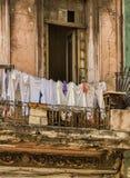 Clothing line on a balcony Stock Photos