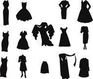 Clothing line in silhouette Royalty Free Stock Images
