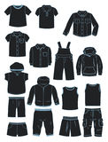 Clothing for little boys. Set of silhouettes of summer clothes for little boys Royalty Free Stock Photos