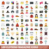 100 clothing magazine icons set, flat style. 100 clothing magazine icons set in flat style for any design vector illustration vector illustration