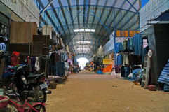 Clothing market. Second hand clothing in the area Rong-Kluea market, located at the border of Thailand and Cambodia. Located in  Aranyaprathet district  Sa Kaeo Royalty Free Stock Image