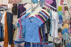 Clothing for medical staff for nurses. Multi-colored medical clothes stock images