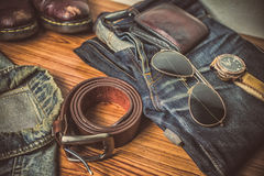 Clothing for mens - tone vintage Royalty Free Stock Photos