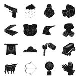 Clothing, mine, transport and other web icon in black style. Royalty Free Stock Images