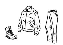 Clothing objects shoes jacket pants contour illustration Royalty Free Stock Photos