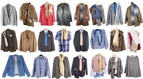 Clothing for poor people. A complete isolated set of summer winter mass production clothing for poor people from Northern Europe Stock Image