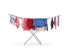 Clothing rack dryer. Isolated on white background royalty free stock images