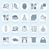 Clothing repair, alterations flat line icons set. Tailor store services - dressmaking, clothes steaming, curtains sewing Royalty Free Stock Photography