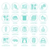 Clothing repair, alterations flat line icons set. Tailor store services - dressmaking, clothes steaming, curtains sewing Stock Photography